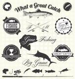 Vetor ajustado: Etiquetas de pesca idas Fotos de Stock Royalty Free