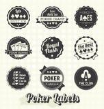 Vetor ajustado: Etiquetas do pôquer do vintage Fotos de Stock Royalty Free