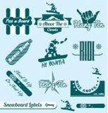 Vetor ajustado: Etiquetas retros da snowboarding ilustração stock