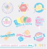 Vetor ajustado: Etiquetas retros dos doces de algodão ilustração stock