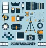 Vetor ajustado: Objetos da fotografia e da câmera ilustração royalty free