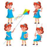 Vetor ajustado poses da criança do jardim de infância da menina Jogo do caráter childish Ocasional vista Para a apresentação, cóp ilustração do vetor