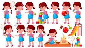 Vetor ajustado poses da criança do jardim de infância da menina pré-escolar Jovem cheerful Para a Web, folheto, projeto do cartaz ilustração stock
