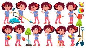 Vetor ajustado poses da criança do jardim de infância da menina pré-escolar Jovem cheerful Para a Web, folheto, projeto do cartaz ilustração do vetor