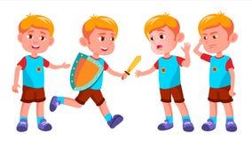 Vetor ajustado poses da criança do jardim de infância do menino Jogo do caráter childish Ocasional vista Para a apresentação, cóp ilustração royalty free