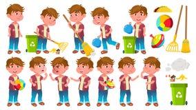 Vetor ajustado poses da criança do jardim de infância do menino Criança pequena Ajuda no jardim Limpeza lifestyle para anunciar ilustração royalty free