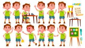 Vetor ajustado poses da criança do jardim de infância do menino pré-escolar Jovem cheerful Para a Web, folheto, projeto do cartaz ilustração royalty free