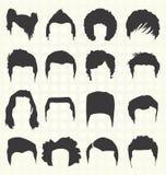 Vetor ajustado: Silhuetas do penteado ilustração royalty free