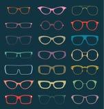 Vetor ajustado: Silhuetas retros dos vidros na cor Imagem de Stock