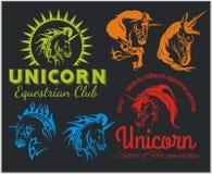 Vetor ajustado - unicórnios e cavalos equestres Imagem de Stock