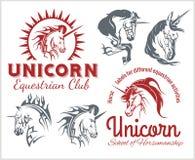 Vetor ajustado - unicórnios e cavalos equestres Fotos de Stock