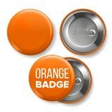 Vetor alaranjado do modelo do crachá Pin Brooch Orange Button Blank Dois lados Parte dianteira, vista traseira Projeto de marcage ilustração do vetor