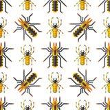 Vetor animal assustador do Dia das Bruxas do horror do perigo do inseto da natureza do projeto do teste padrão sem emenda do medo ilustração do vetor