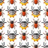 Vetor animal assustador do Dia das Bruxas do horror do perigo do inseto da natureza do projeto do teste padrão sem emenda do medo ilustração stock