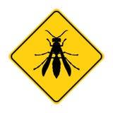 Vetor animal do amarelo do sinal de tráfego da silhueta da vespa ilustração stock
