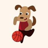Vetor animal dos elementos dos desenhos animados do cão do esporte Imagens de Stock Royalty Free
