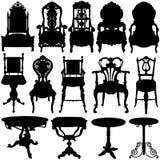Vetor antigo da cadeira e da tabela ilustração royalty free