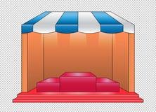 Vetor - armazene dianteiro e as prateleiras vermelhas, têm a luz na prateleira vazia para o produto e a forma ilustração royalty free