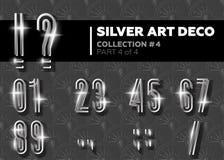 Vetor Art Deco Font Alfabeto retro de prata de brilho Gatsby Styl Fotografia de Stock Royalty Free