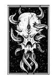 Vetor Art Illustration do crânio do polvo ilustração stock