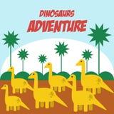 Vetor Art Logo da ilustração da aventura dos dinossauros Imagens de Stock