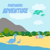 Vetor Art Logo da ilustração da aventura dos dinossauros Fotografia de Stock Royalty Free