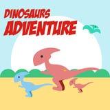 Vetor Art Logo da ilustração da aventura dos dinossauros Fotos de Stock
