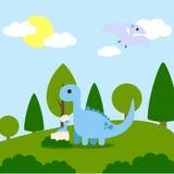 Vetor Art Logo da ilustração da aventura dos dinossauros Foto de Stock