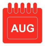 Vetor august no ícone mensal do vermelho do calendário Foto de Stock