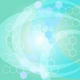 Vetor azul de incandescência do fundo da estrutura molecular Foto de Stock Royalty Free