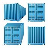 Vetor azul do recipiente de carga Recipiente de carga clássico do metal 3D realístico Conceito do transporte do frete Zombaria do ilustração do vetor