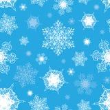 Vetor Azure Blue White Ornate Snowflakes sem emenda Imagens de Stock