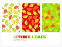 Vetor - bandeiras coloridas com folhas imagens de stock