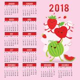 Vetor bonito do melão de Apple da morango dos desenhos animados do fruto do calendário 2015 do planejador ilustração royalty free