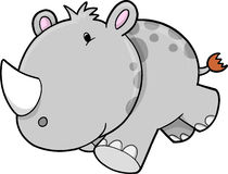 Vetor bonito do rinoceronte do safari ilustração royalty free