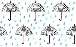 Vetor bonito do teste padrão do guarda-chuva handdrawn ilustração royalty free