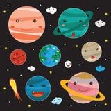 Vetor bonito dos caráteres dos planetas ilustração do vetor