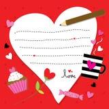 Vetor bonito dos desenhos animados do coração do papel de Valentine Sent You With Love Imagem de Stock Royalty Free