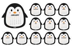 Vetor bonito dos desenhos animados do molde do calendário do pinguim 2018 Imagens de Stock Royalty Free