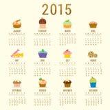 Vetor 2015 bonito dos desenhos animados do queque do calendário Imagem de Stock Royalty Free