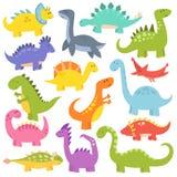 Vetor bonito dos dinossauros dos desenhos animados Fotografia de Stock Royalty Free