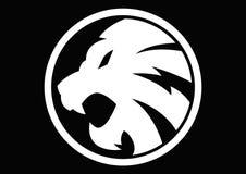 Vetor branco do sinal do símbolo do leão imagens de stock