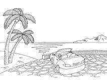 Vetor branco preto gráfico da ilustração do esboço da paisagem do cabriolet da costa de mar ilustração royalty free