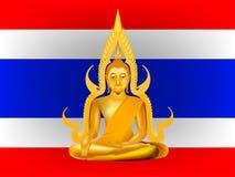 Vetor buddha no fundo da bandeira de Tailândia ilustração royalty free
