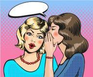 Vetor cômico do pop art do sussurro das mulheres ilustração royalty free