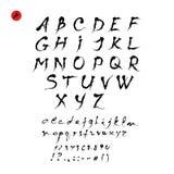 Vetor caligráfico do alfabeto Letras e números escritos mão Fotografia de Stock