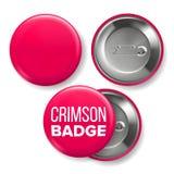 Vetor carmesim do modelo do crachá Pin Brooch Crimson Button Blank Dois lados Parte dianteira, vista traseira Projeto de marcagem ilustração do vetor