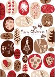 Vetor - cartão de Natal com os desenhos agradáveis da mão Ilustração Stock
