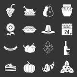 Vetor cinzento ajustado ícones da ação de graças ilustração do vetor