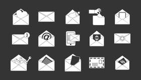 Vetor cinzento ajustado do ícone do correio ilustração stock